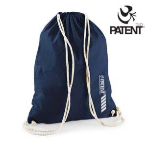 Patentduo sötétkék vászon hátizsák gymbag