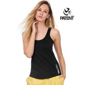 Patentduo fekete pamut ujjatlan póló trikó