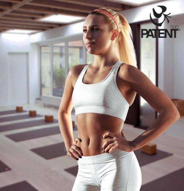 Patentduo fehér pamut leggings sportmelltartó szett