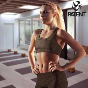 Patentduo sötétszürke pamut leggings sportmelltartó szett