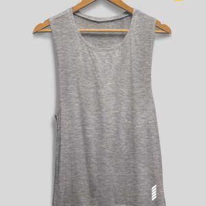 Patentduo oldalt kivágott pamut trikó melír szürke színben