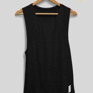 Patentduo oldalt kivágott trikó jógatrikó fekete színben
