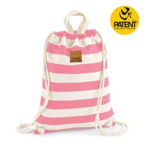 Patentduo csíkos púder pink vászon gymbag hátizsák
