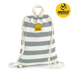 Patentduo csíkos szürke grey vászon gymbag hátizsák